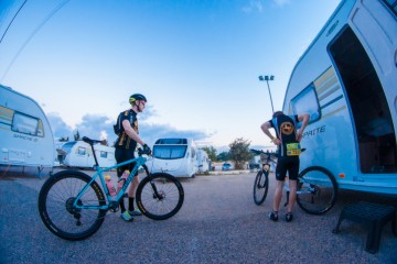 Pete and Rab from Dirt School prep their mountain bikes for Epic Israel