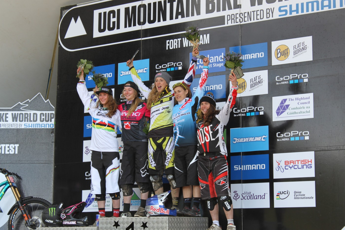 Katy Curd Fort William UCI Downhill World Cup 2015 Podium.