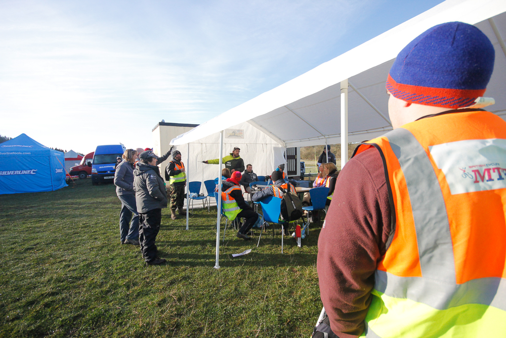 The BDS takes a small army of marshals to keep it running smooth - here's Race Director Colin setting out what's what on Saturday AM.