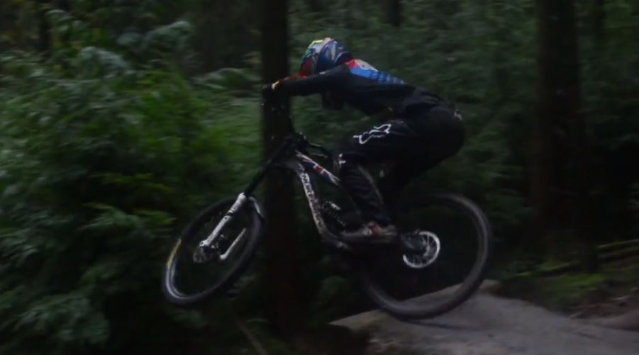 Charlie Hatton riding Nukeproof Pulse Forest of Dean in winter